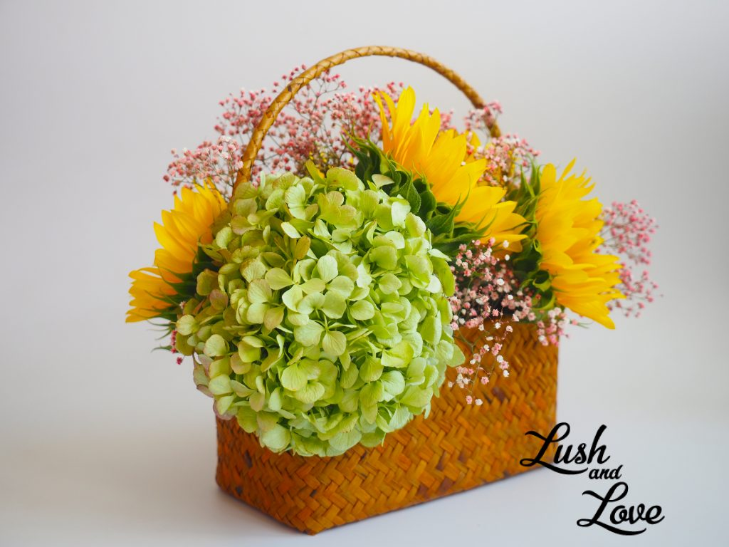 Brigitte - Lush and Love (Fresh Sun Flower in basket) - 03